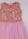 Нежно розовое  платье с пайетками  для девочек 2-7 лет, фото 4