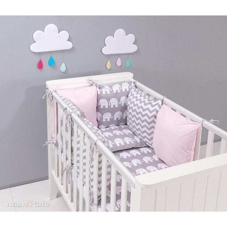 Комплект постельного белья  в кроватку   17 предметов Слоны розовые