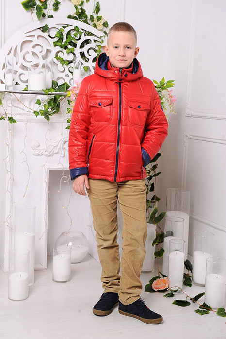 Красная демисезонная куртка  для мальчиков и подростков Андора