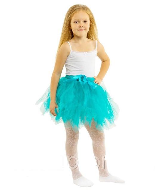 Бирюзовая фатиновая юбка туту   для девочек