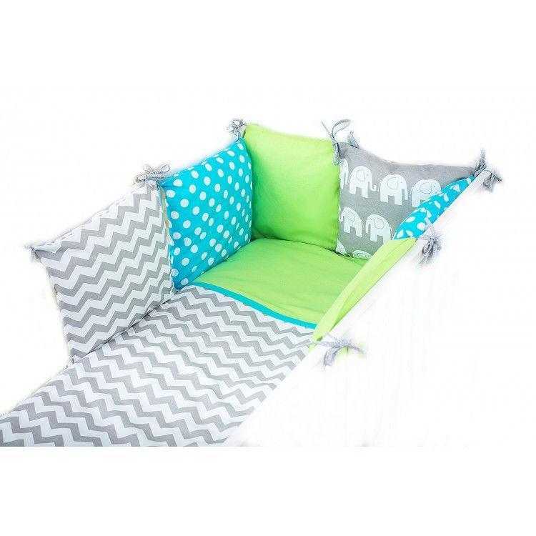 Комплект в кроватку  для малышей  9 пред с бортиками Слоны салатовые