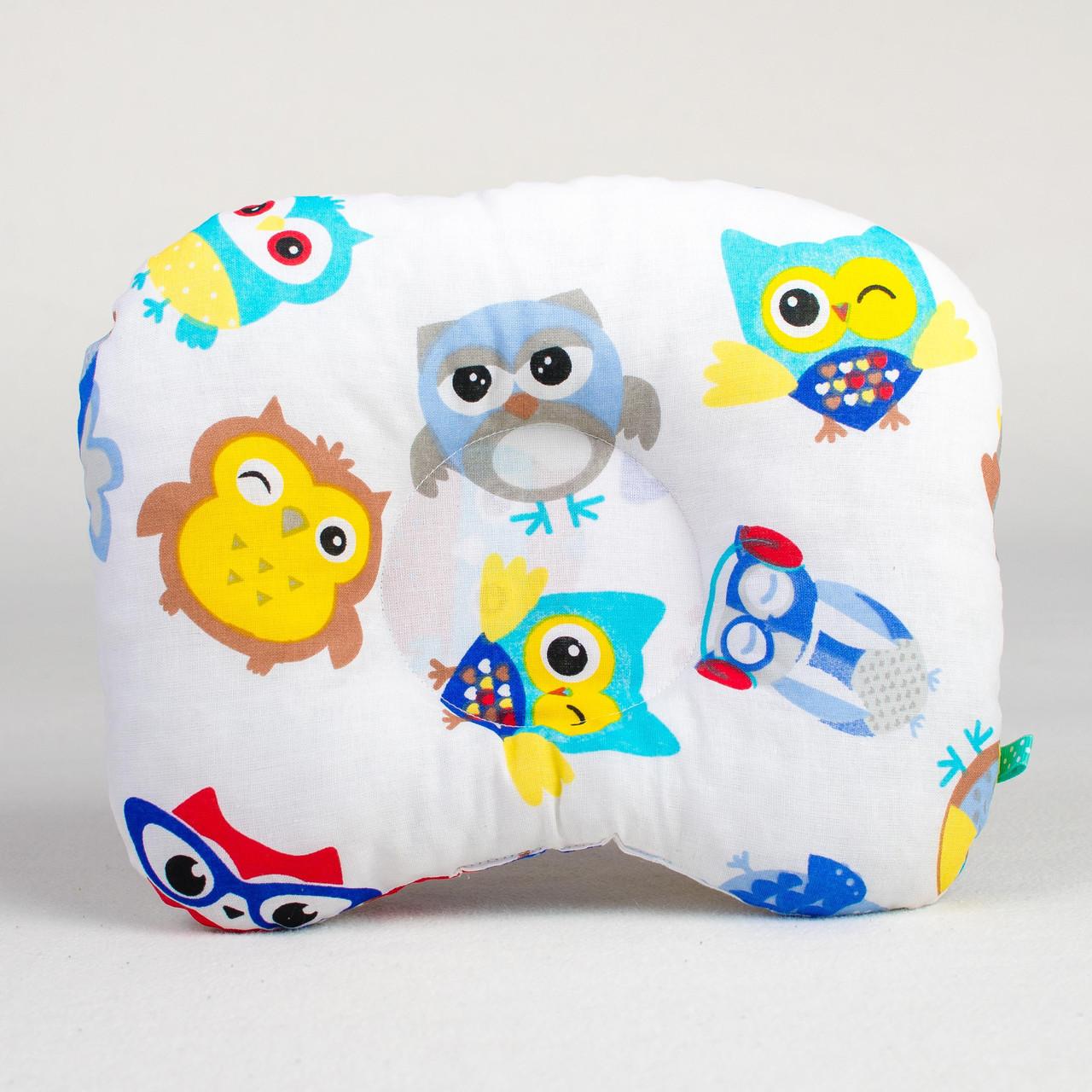 Подушка для младенцев  ортопедическая   Совы в наушниках 22 х 26 см