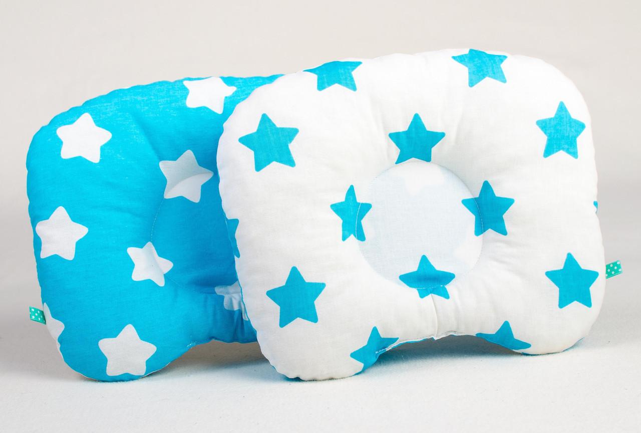 Подушка ортопедическая для новорожденных  Лазурные звездочки 22 х 26 см