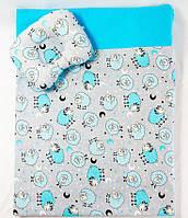 Комплект в манеж  Бирюзовые барашки одеяло 65 х 75 см  и подушка 22 х 26 см , фото 1