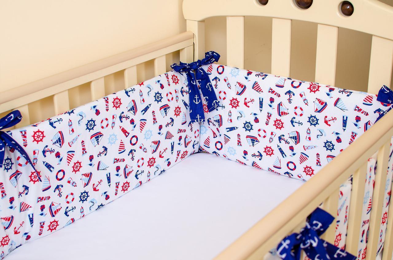 Бортики в детскую кроватку + простынь на резинке  Морячок 360см х 27см