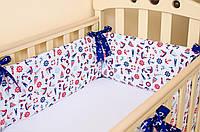 Бортики в детскую кроватку + простынь на резинке  Морячок 360см х 27см , фото 1