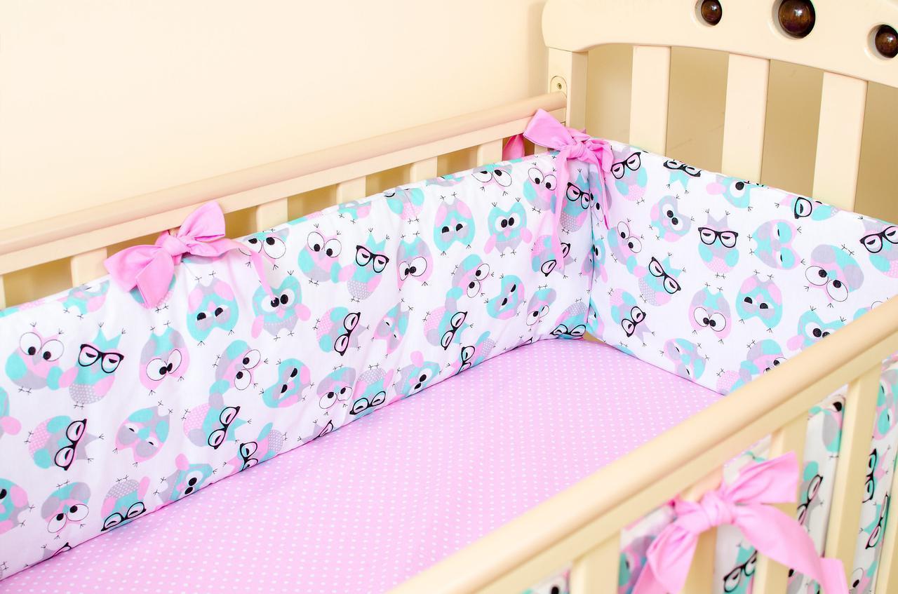 Бортики в детскую кроватку + простынь на резинке Совушки в очках 360смх27см простынь 60смх120см