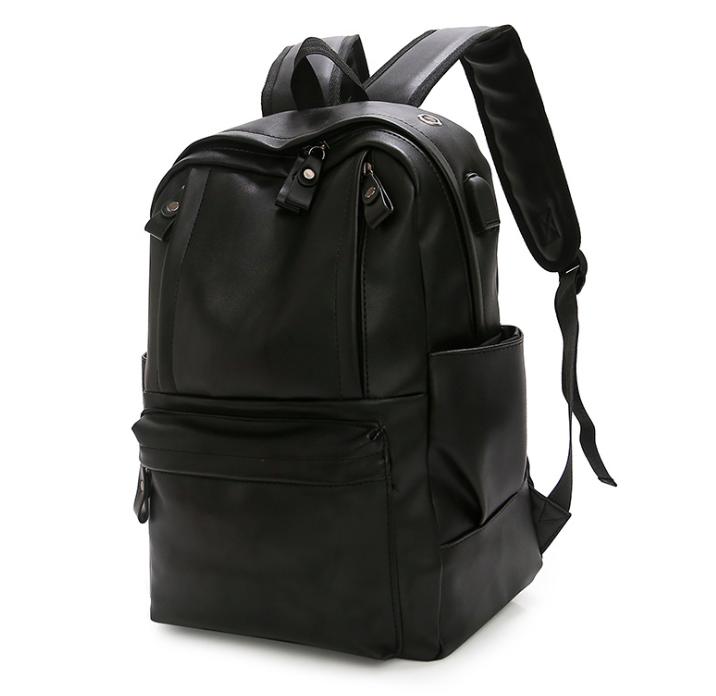 Рюкзак мужской кожзам городской Men's USB выход черный