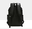 Рюкзак мужской кожзам городской Men's USB выход черный, фото 5