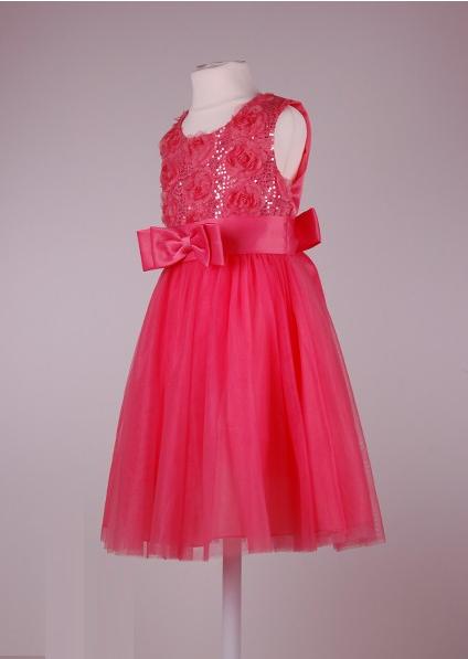 Нарядное коралловое платье  с бантом для девочек