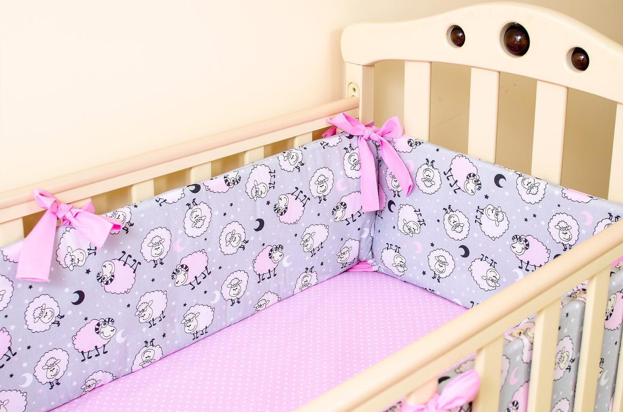 Бортики в детскую кроватку  Розовые барашки 360см х 27см