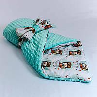 Демисезонный плюшевый конверт - одеяло Лисенок   78 х 85 см , фото 1