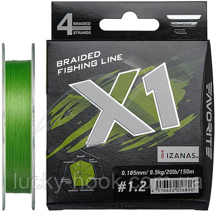 Шнур Favorite X1 PE 4x 150m (l.green) #1.2/0.185mm 20lb/9.5kg, фото 2
