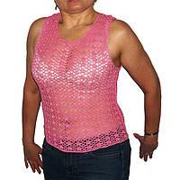 Вязаная летняя блуза розового цвета  ручной работы