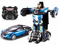 Трансформер робот-машина на пульті управління JQ 6601 Bugatti синій USB-шнур в коробці