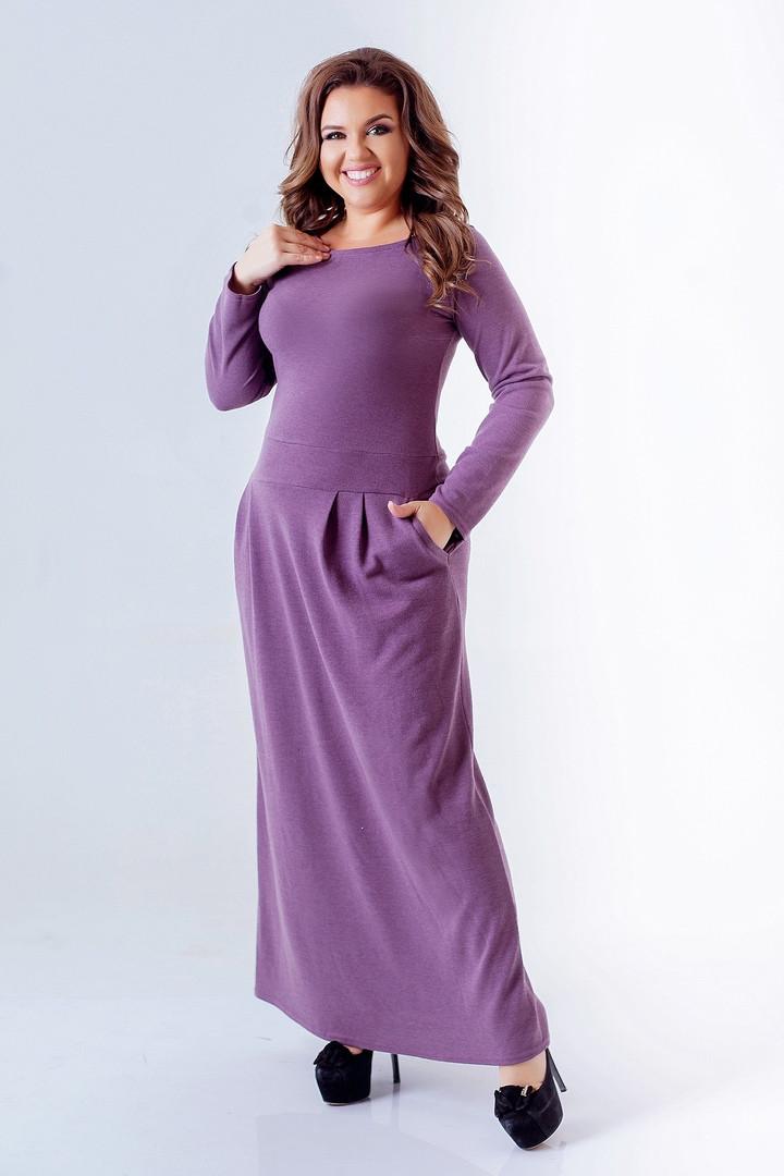 Женское ангоровое платье длинное свободный фасон длинный рукав с карманами размер:50-52,54-56,58-60,62-64