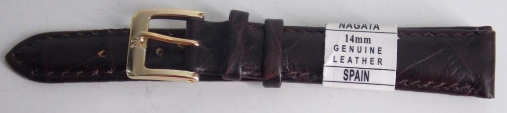 Ремінець шкіряний NAGATA (ІСПАНІЯ) 14 мм, темно-коричневий