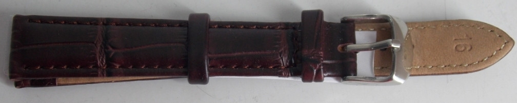 Ремешок кожаный NAGATA (ИСПАНИЯ) 16 мм, темно-коричневый
