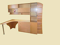 Компьютерный стол с пеналом и полочками для книг