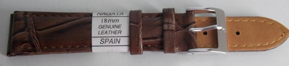 Ремешок кожаный NAGATA (ИСПАНИЯ) 18 мм, серо-коричневый рель