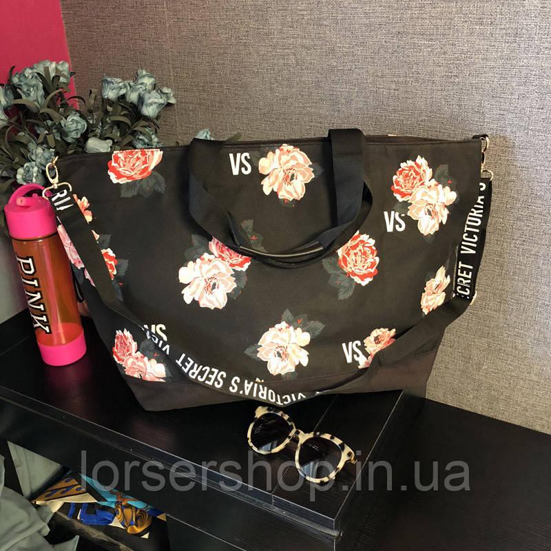 410a6a473670 Сумка пляжная Victoria's Secret черная с цветами : продажа, цена в ...