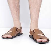 Кожаные светло-коричневые сандалии (лето), 40 размер, код UT83128