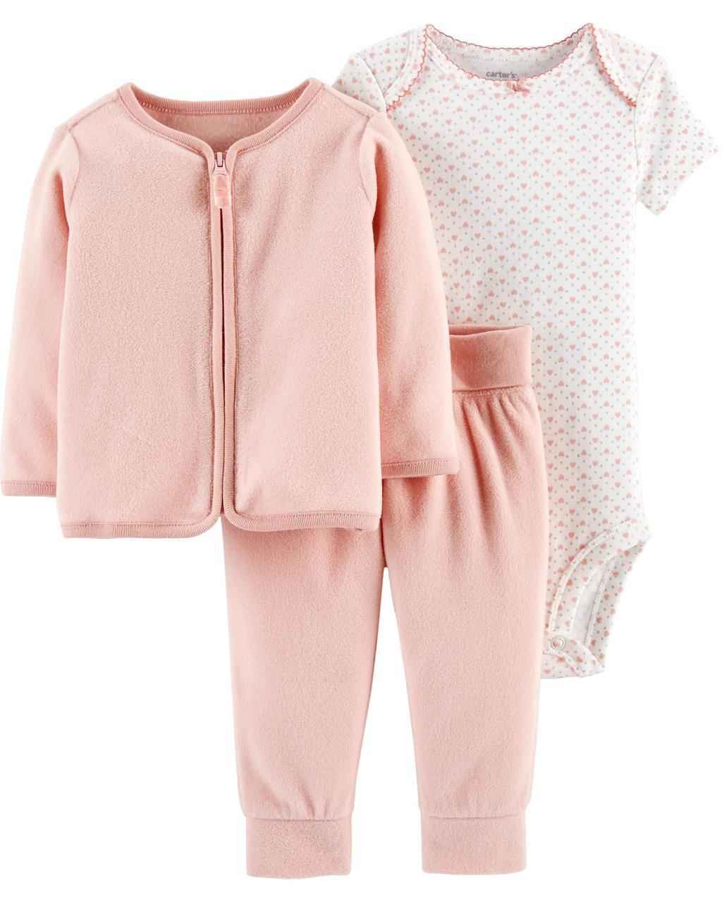 Кофта флисовая + Штаны флисовые + Боди Carters для новорожденной девочки 46-55 см. Костюм 3-ка