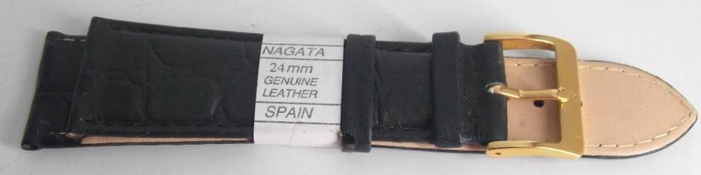 Ремешок кожаный NAGATA (ИСПАНИЯ) 24 мм, черный