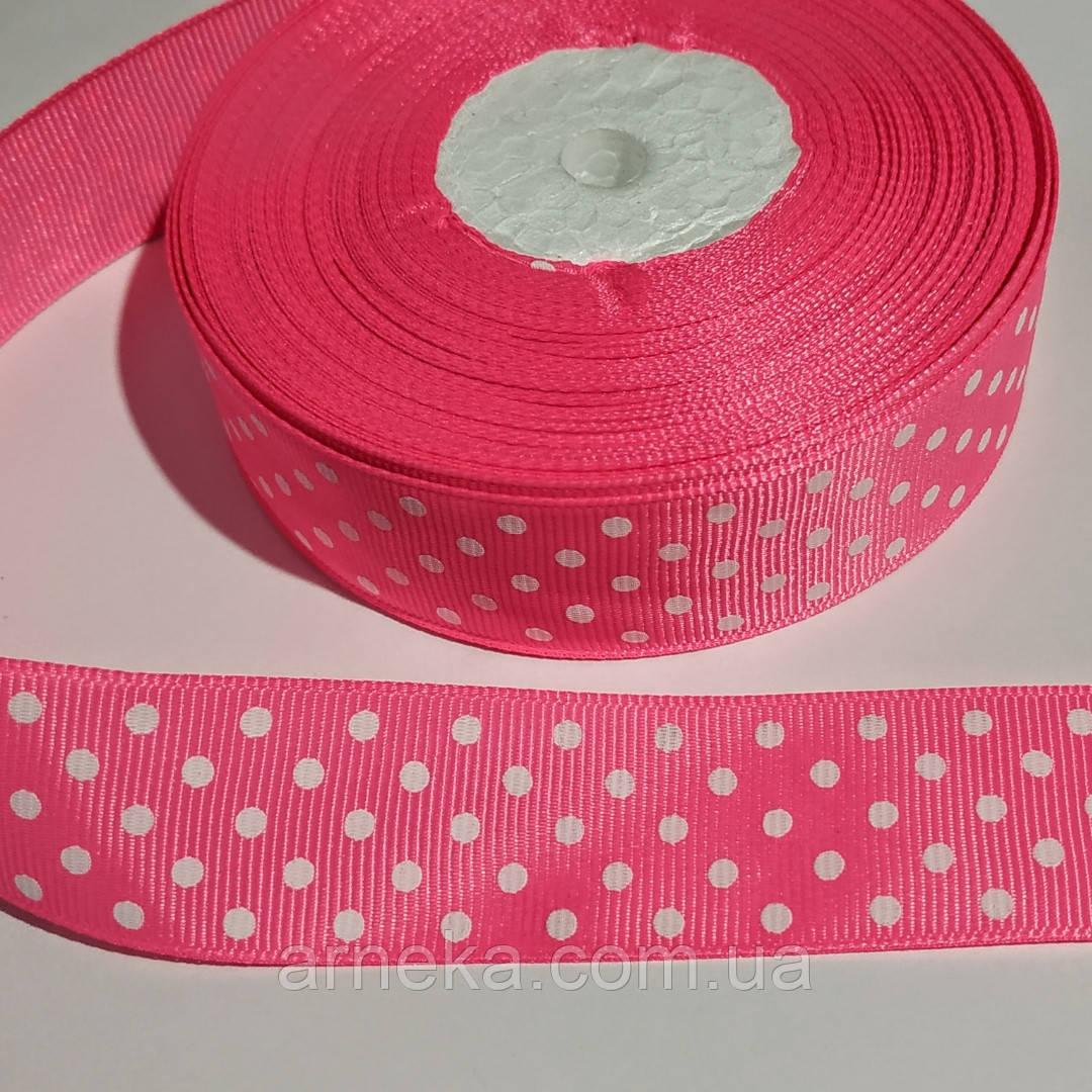 Лента репсовая 2,5 см розовая в горошек