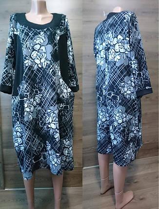 Платье комбинированное с карманами, фото 2