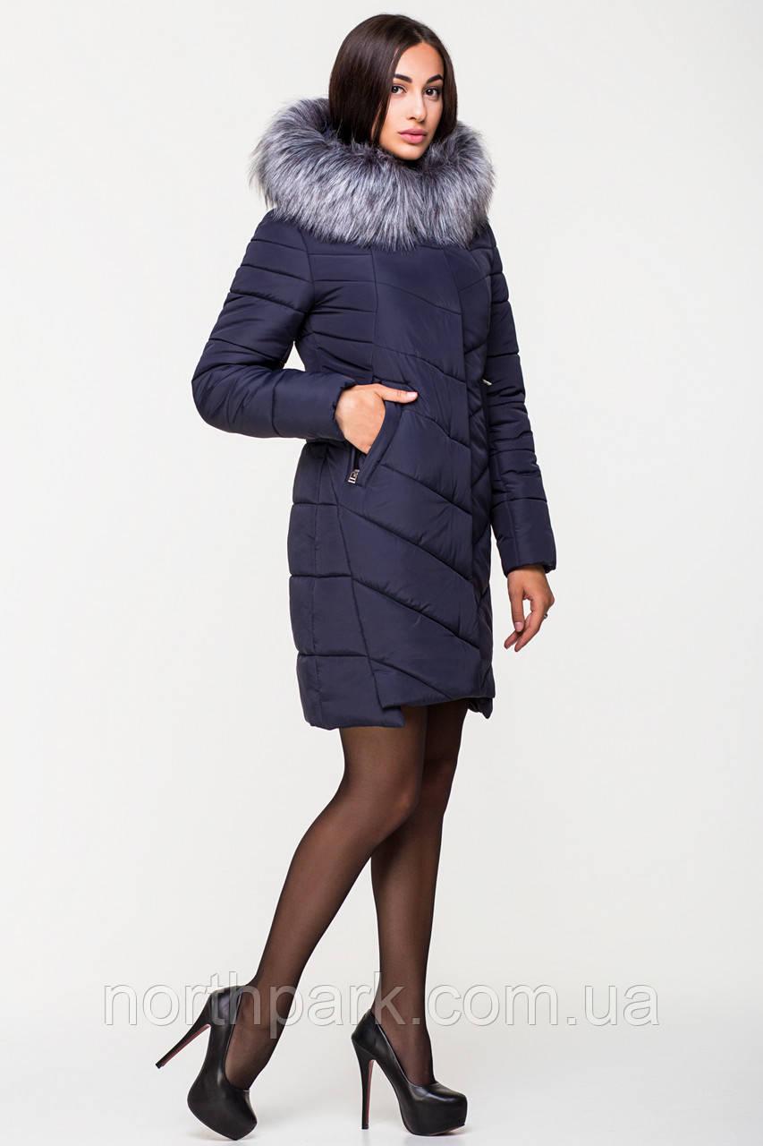 Довга зимова куртка VS Z-150, темно-синя, розмір 46