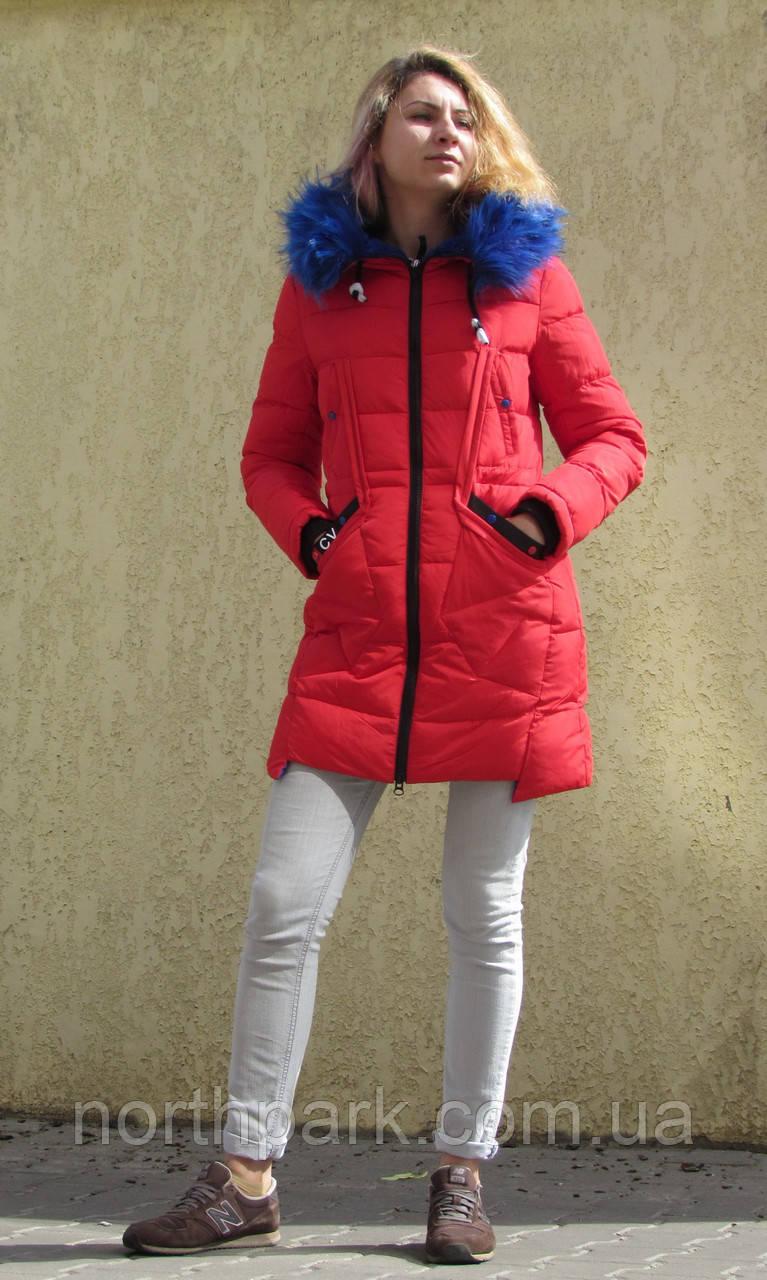 Яскравий молодіжний пуховик - парка Covily 17-15, червоний із синім хутром