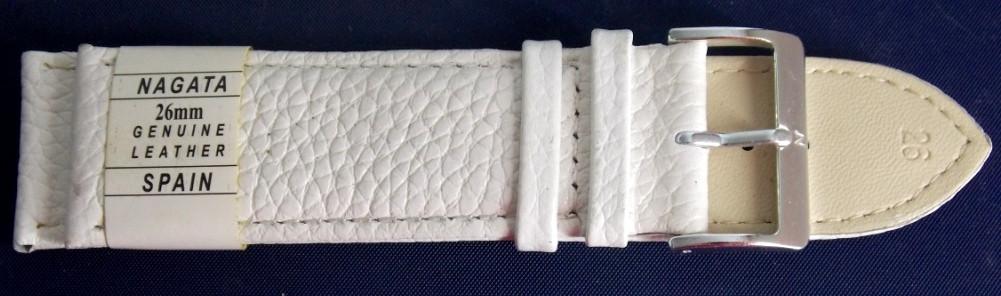 Ремешок кожаный NAGATA (ИСПАНИЯ) 26 мм, белый