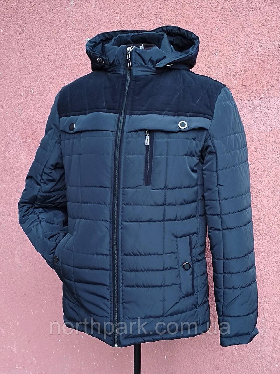 Чоловіча зимова куртка з вельветовими вставками, темно-синя