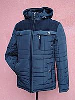 Чоловіча зимова куртка з вельветовими вставками, темно-синя , фото 1