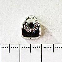 Бусина шарм Пандора светло серый металл сумочка черная 10мм фас.6шт
