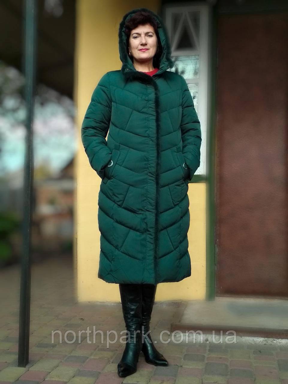 Длинное зимнее пальто пуховик женский, цвет бутылка, размер 50/52