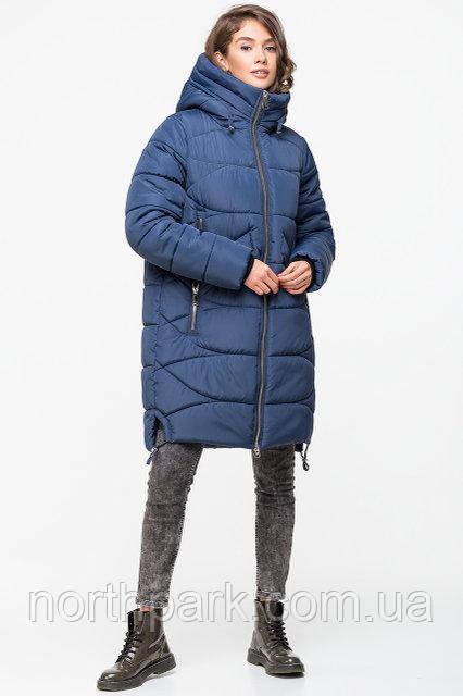 Довга зимова куртка VS 185, блакитна