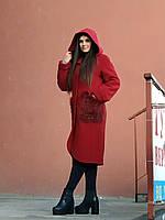 Тепле кашемірове пальто з капюшоном, червоне