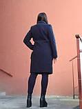 Модне тепле кашемірове пальто з хутряними кишенями, синє, фото 2