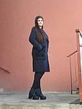 Модне тепле кашемірове пальто з хутряними кишенями, синє, фото 3