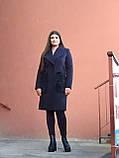 Модне тепле кашемірове пальто з хутряними кишенями, синє, фото 4