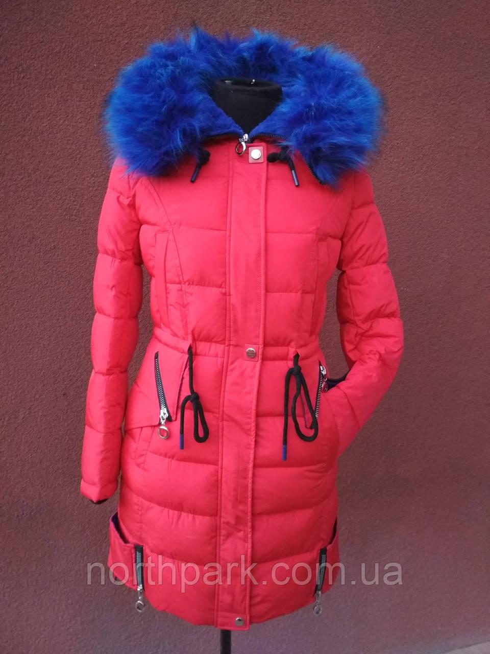Яскравий молодіжний пуховик - парка Covily 17-16, червоний із синім хутром, розмір XL