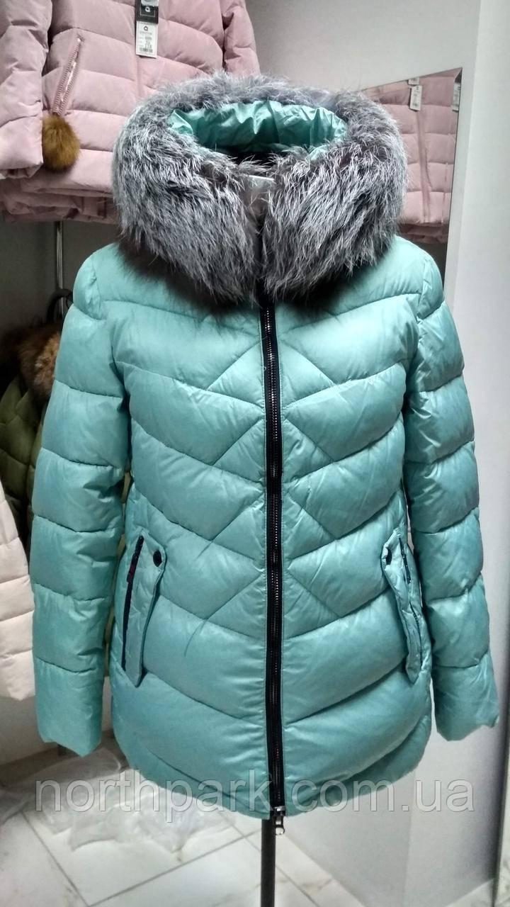 Зимова коротка куртка пуховик з хутром чорнобурки