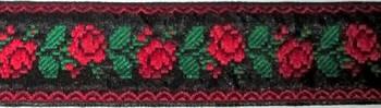 Лента-вышиванка 3 см, Красные Розы