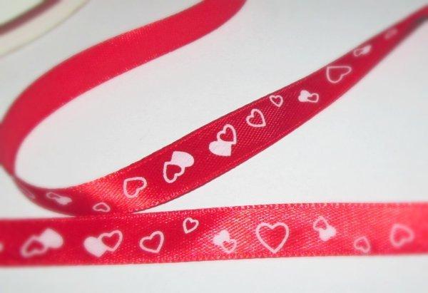 Лента органза 10 мм Сердечки, красная