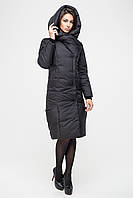 Довга зимова куртка KTL з асиметричним коміром, чорна