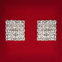 [20 мм] Серьги женские белые стразы светлый металл свадебные вечерние гвоздики (пусеты ) квадрат крупные