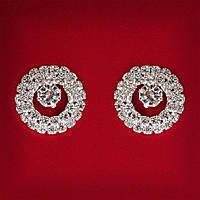 [20 мм] Серьги женские белые стразы светлый металл свадебные вечерние гвоздики (пусеты ) круглые со вставкой мини