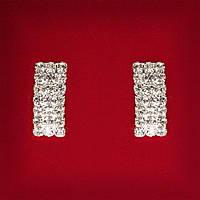 [20 мм] Серьги женские белые стразы светлый металл свадебные вечерние гвоздики (пусеты ) прямоугольник средние